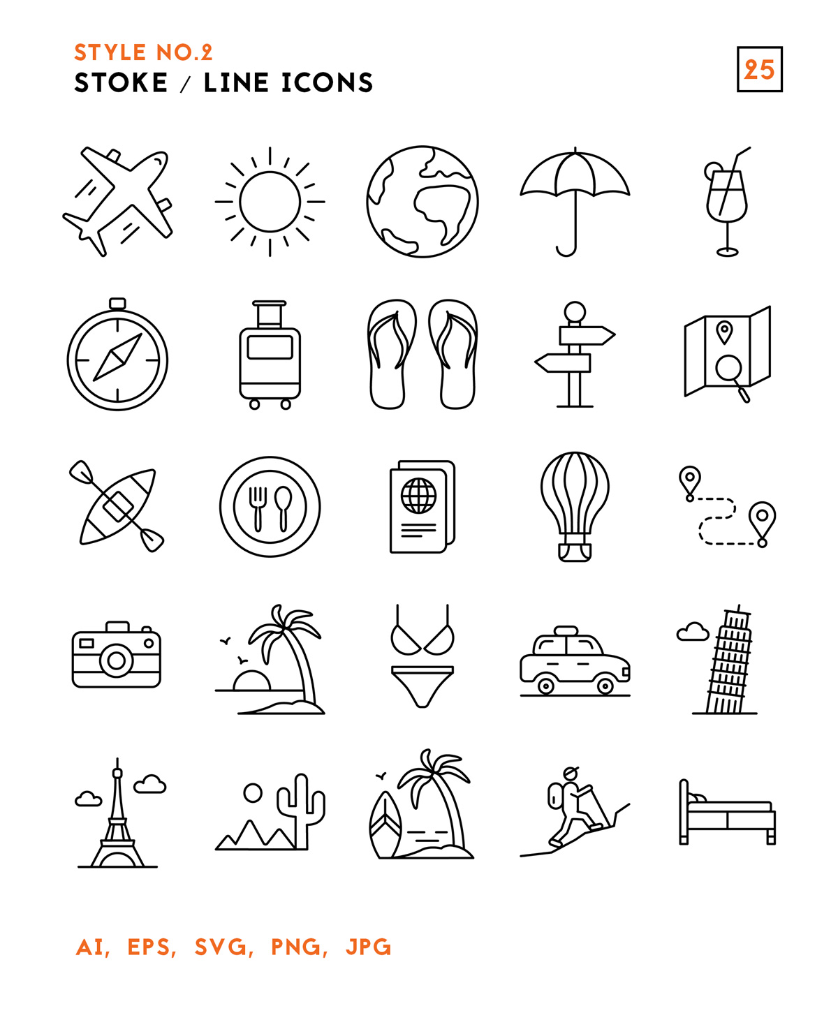 Vector Travel Outline Icons Pack
