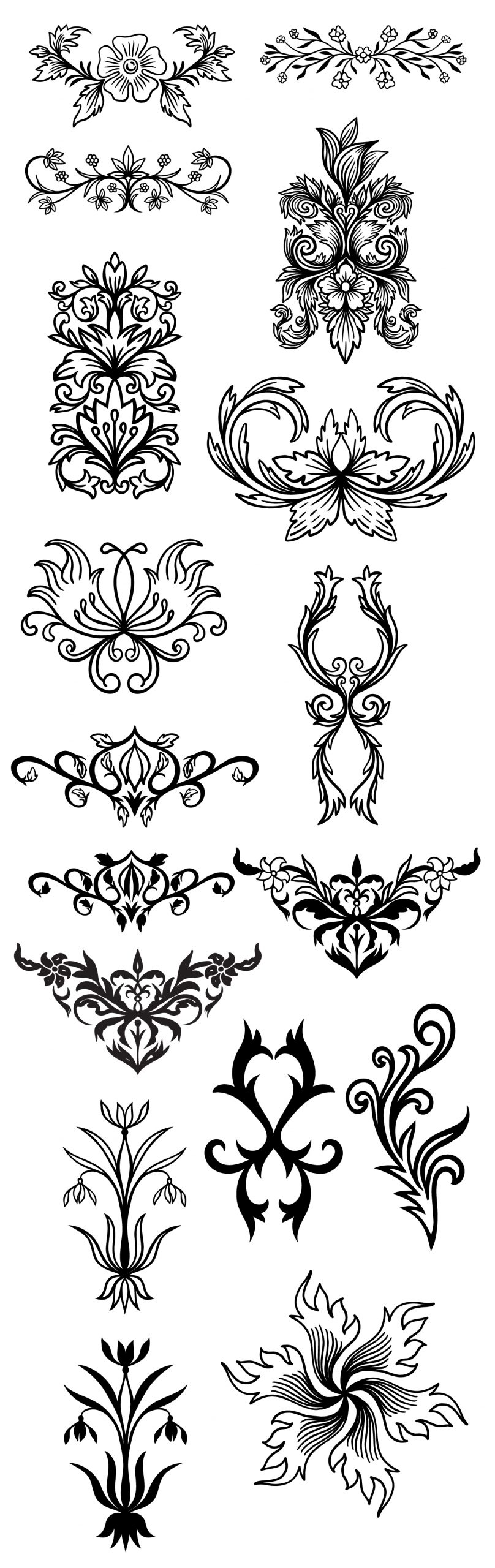 Vintage Floral Decorative Vector Elements