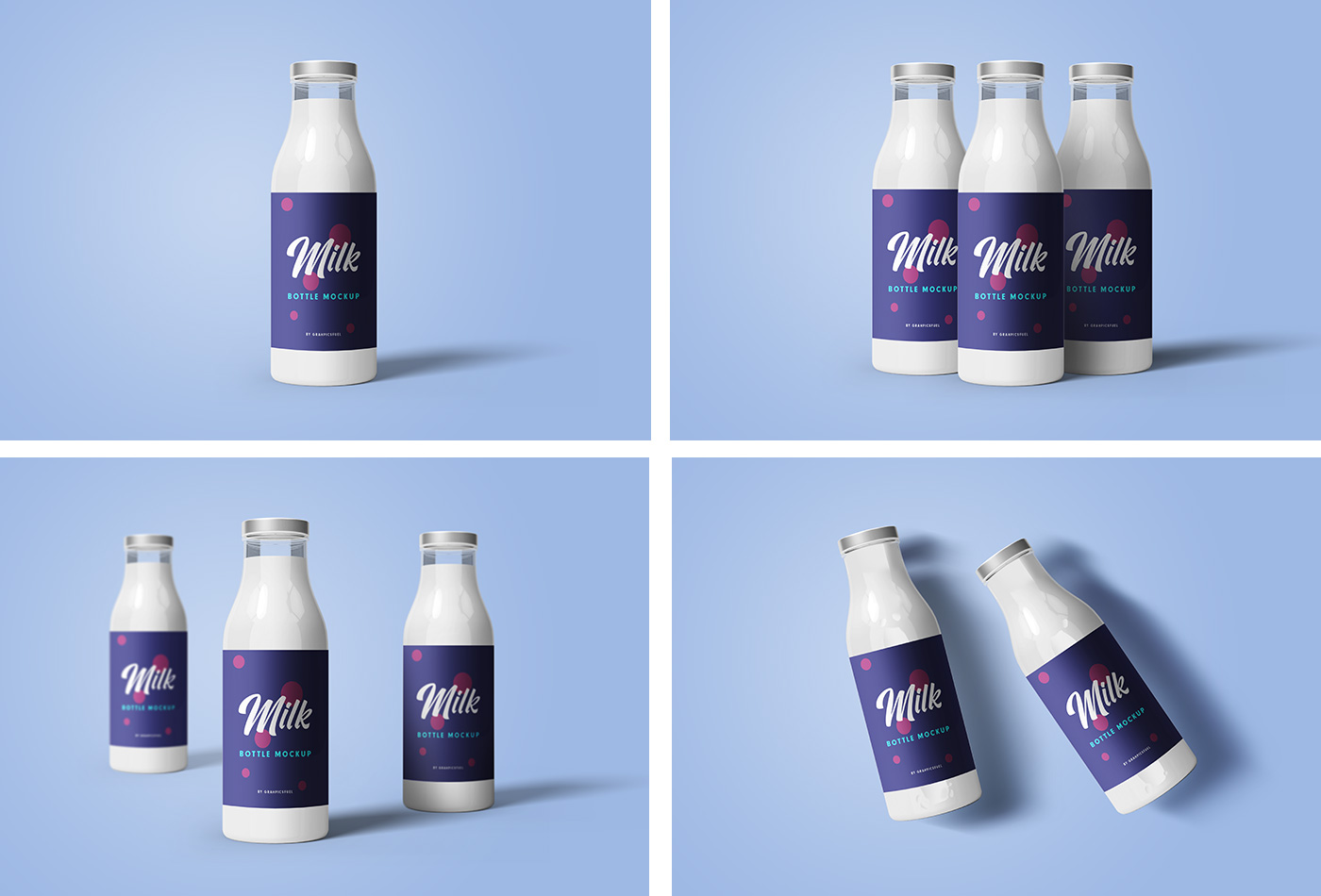 PSD Milk Bottle Mockups