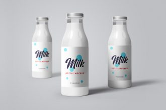 PSD Milk Bottle Mockup Templates