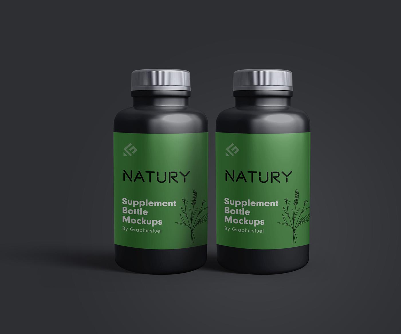 PSD Supplement Bottle Mockup Templates