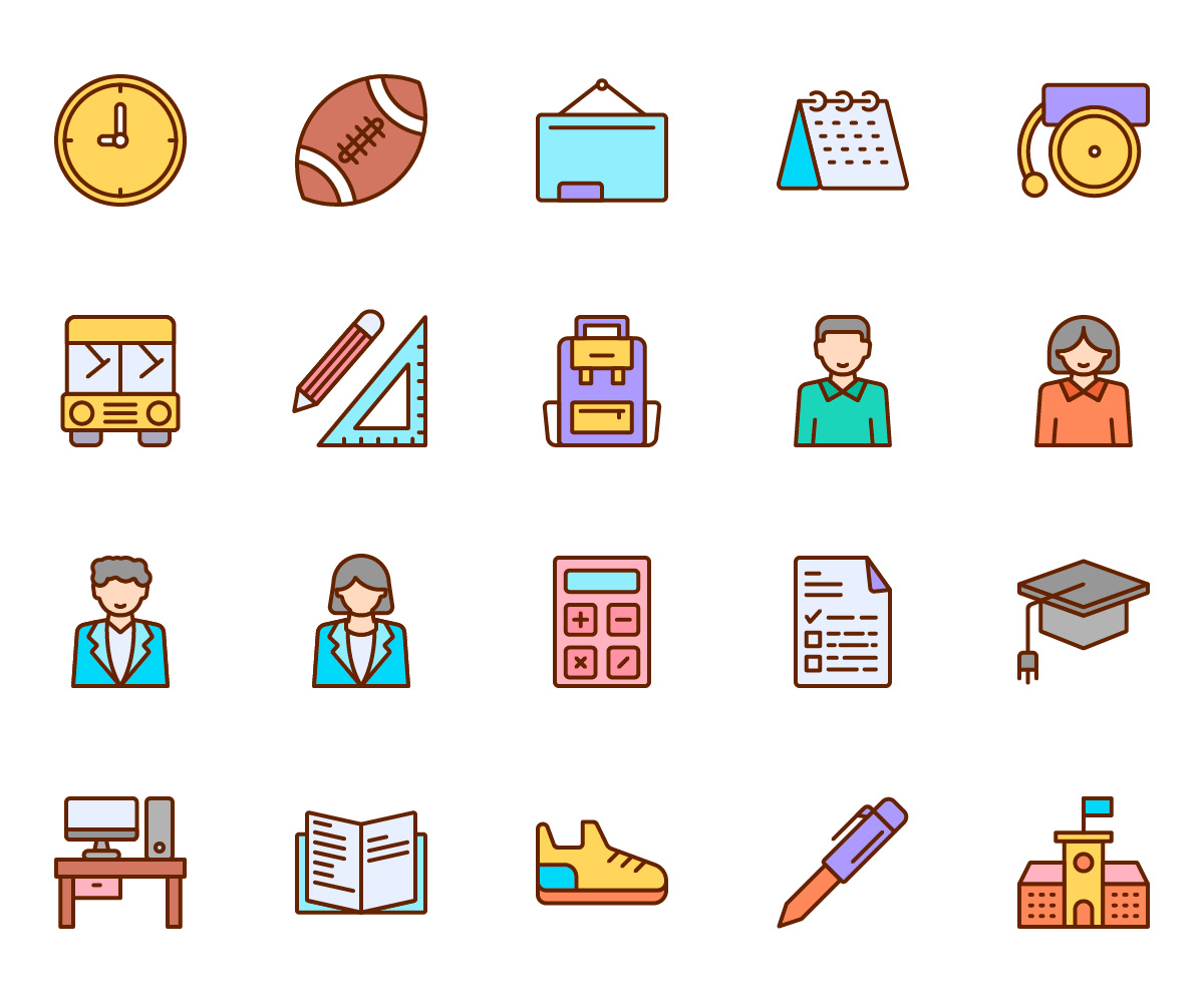 Back To School Vector Color Icons