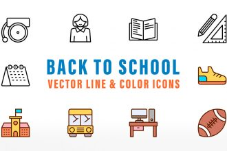 Back To School Vector Line And Color Icons