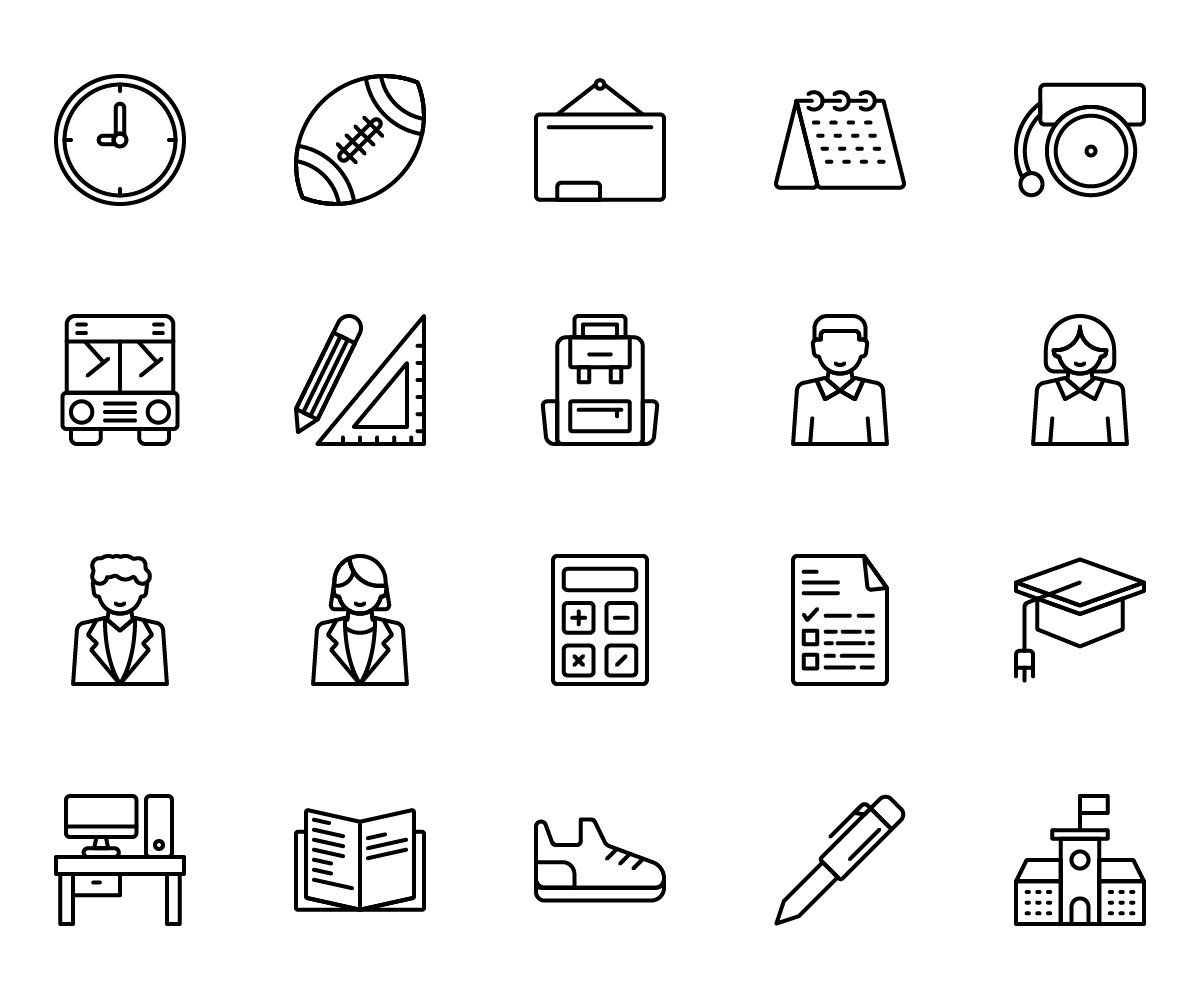 Back To School Vector Line Icons