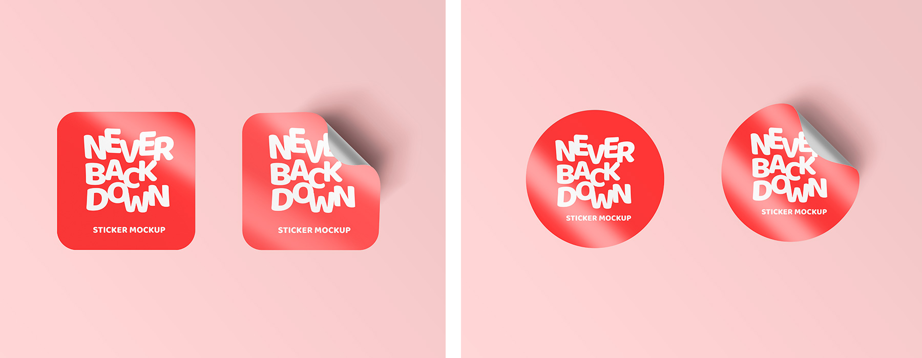 Curled Sticker Mockup PSD Template