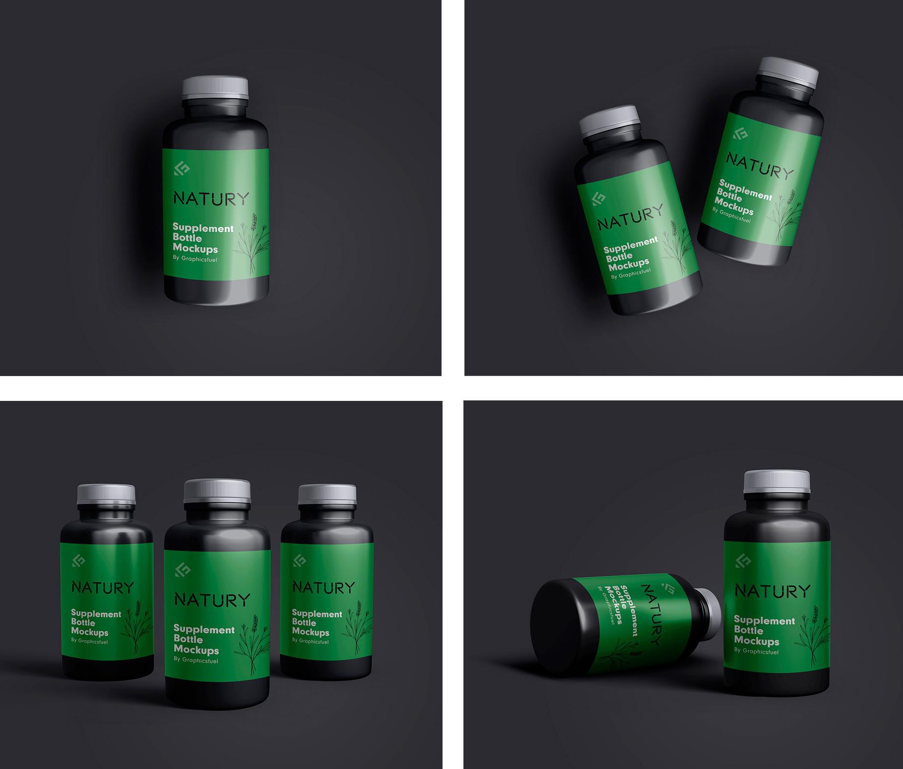PSD Supplement Bottle Mockups Templates