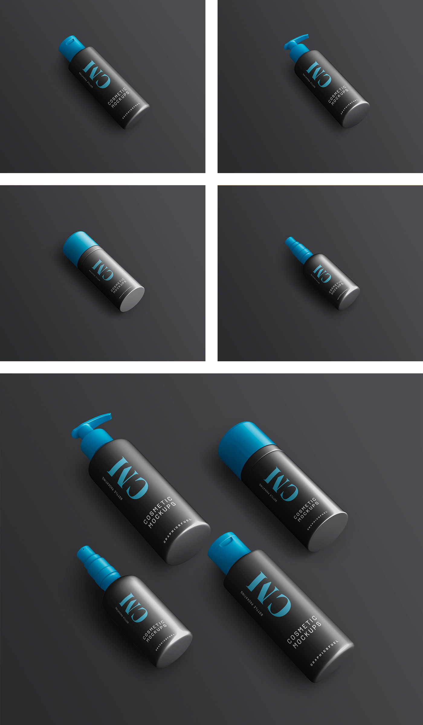 Cosmetic Product Bottle Dark Mockups