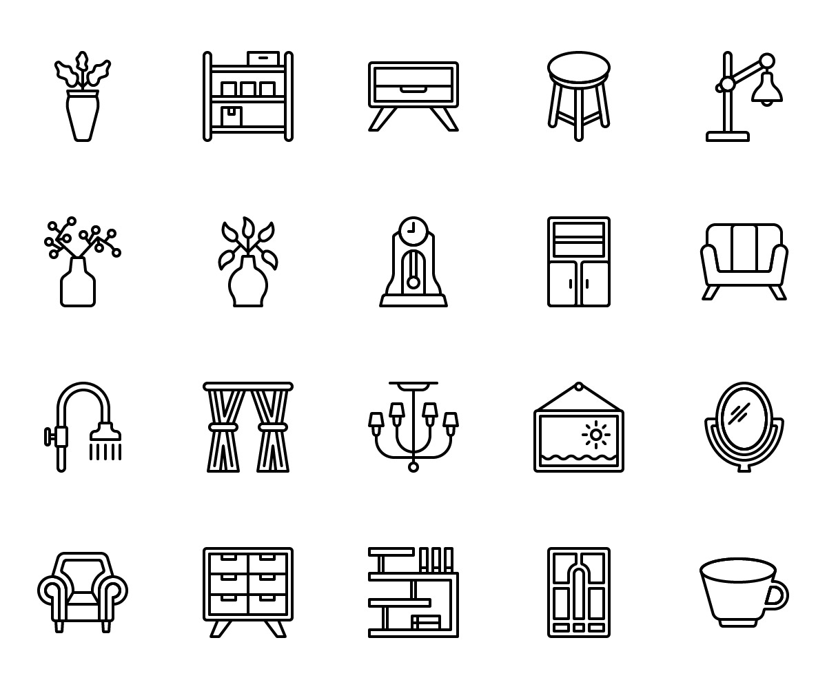 Home Decor Outline Icons