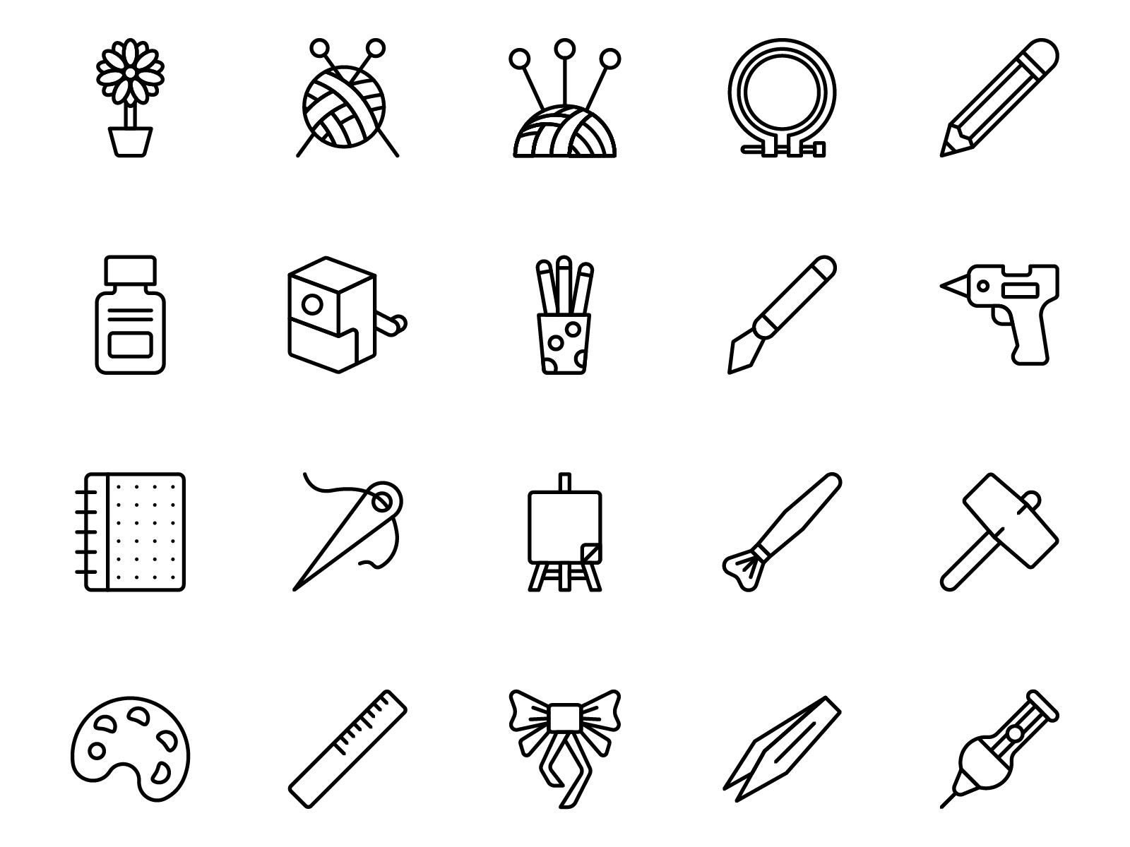 Arts and Crafts Icons Outline