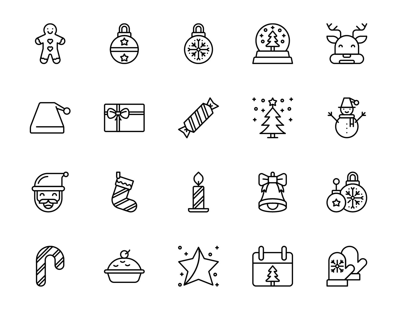 Free Christmas Line Icons