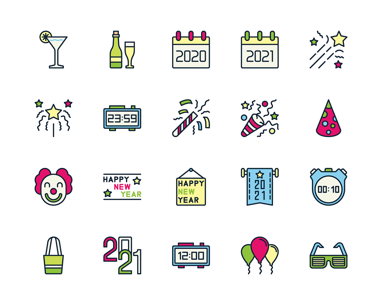 Happy New Year Free Color Icons
