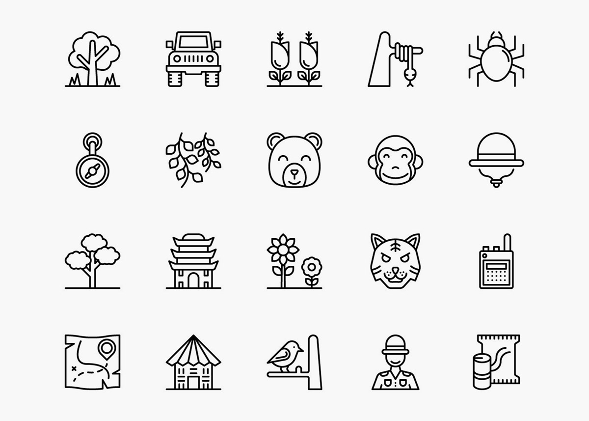 Forest Icons Outline Pack