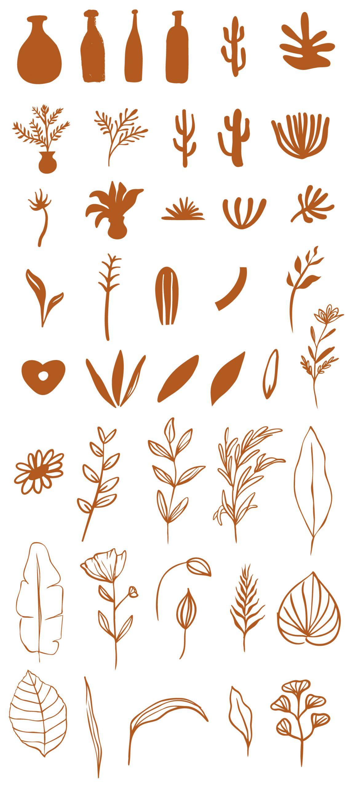 Abstract Handdrawn Organic Shapes