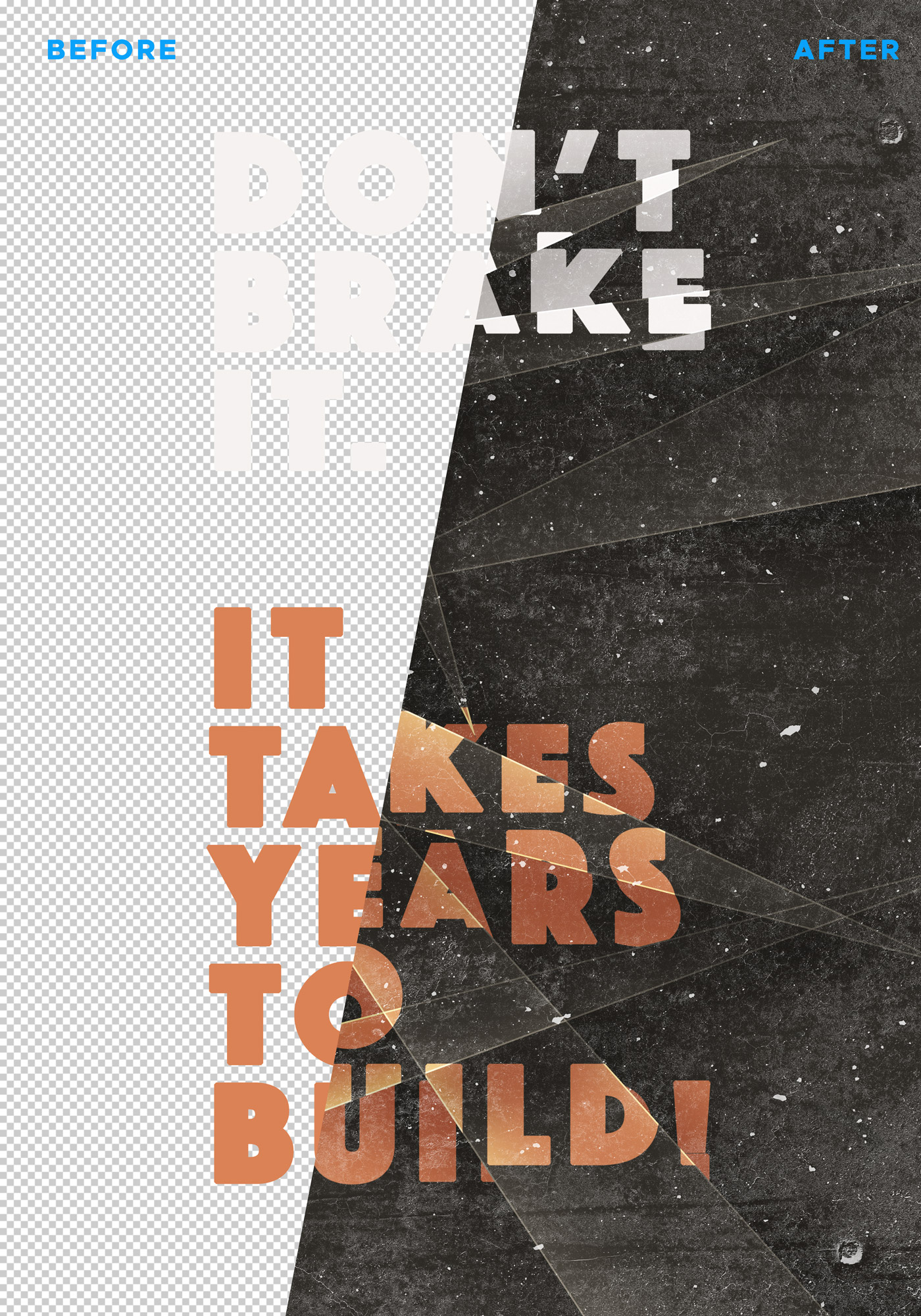 Sliced Text Effect Poster Template
