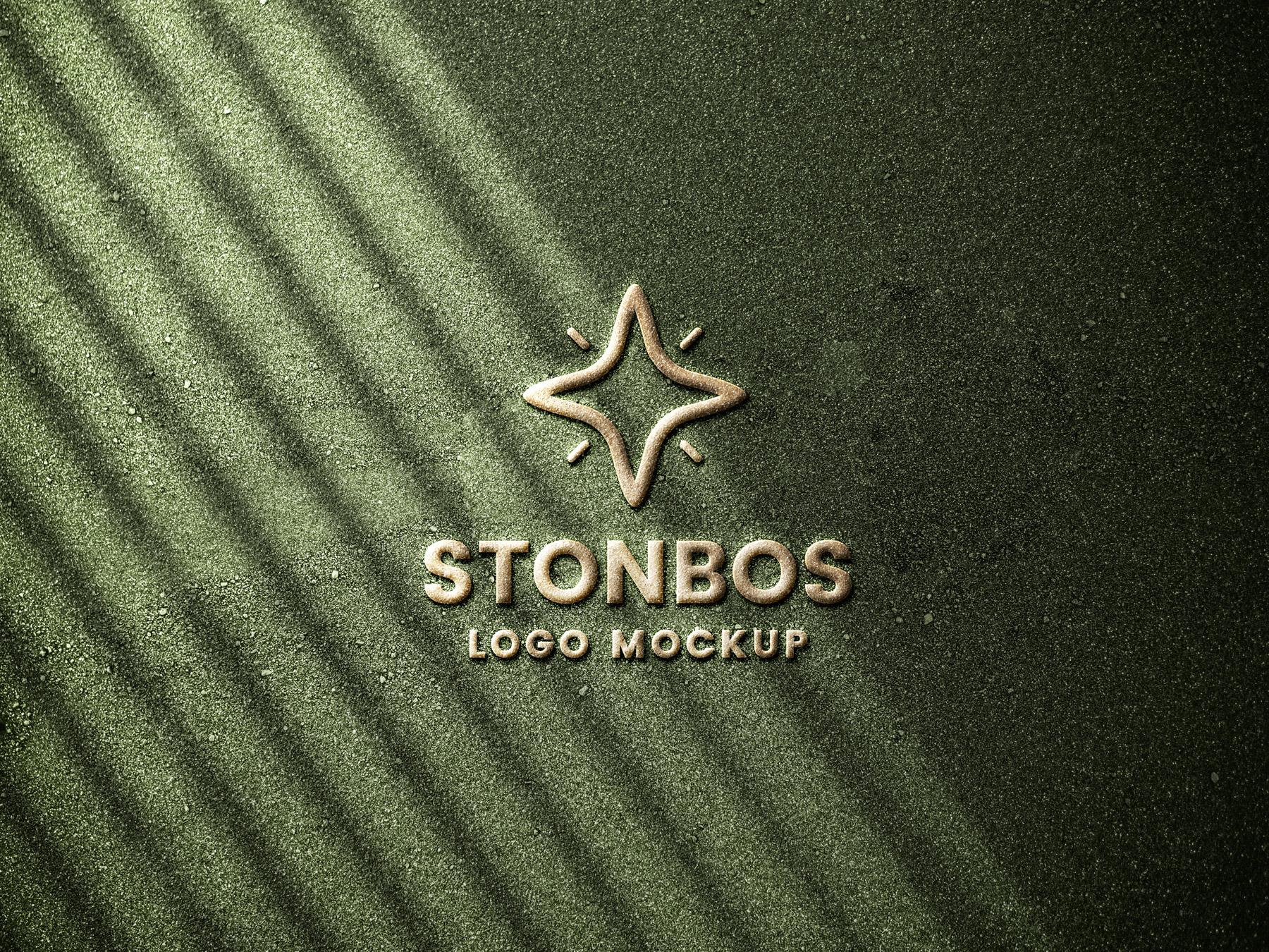 Stone Emboss Logo Mockup PSD