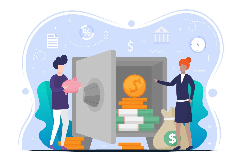 Bank Deposit Free Flat Illustration