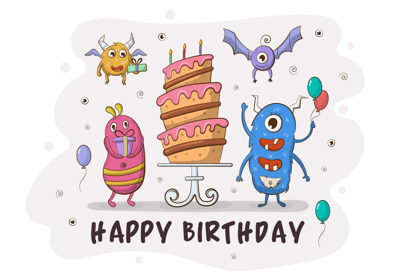 Funny Monsters Birthday Party Free Vector Illustration