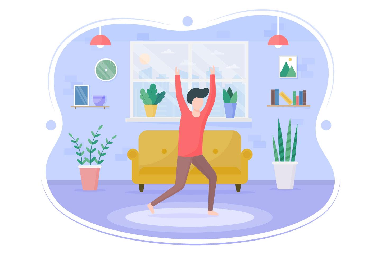Morning Exercise Vector Free Flat Illustration
