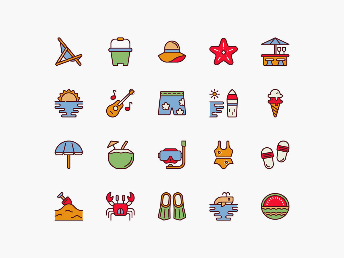 Vector Beach Color Icons