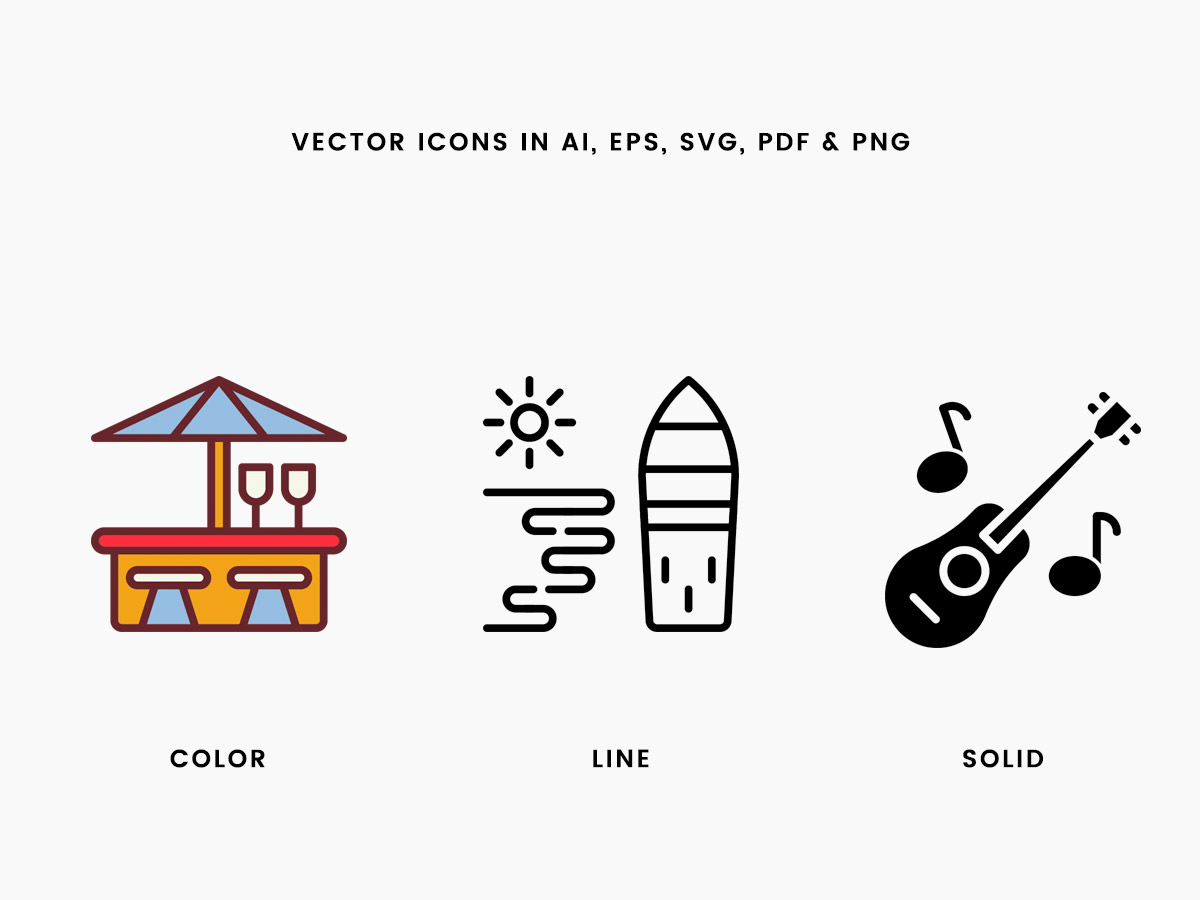 Vector Beach Icons Pack