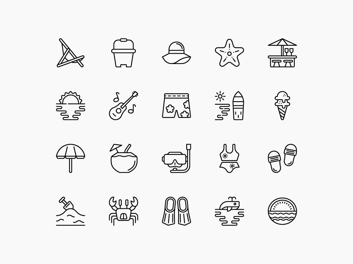 Vector Beach Line Icons