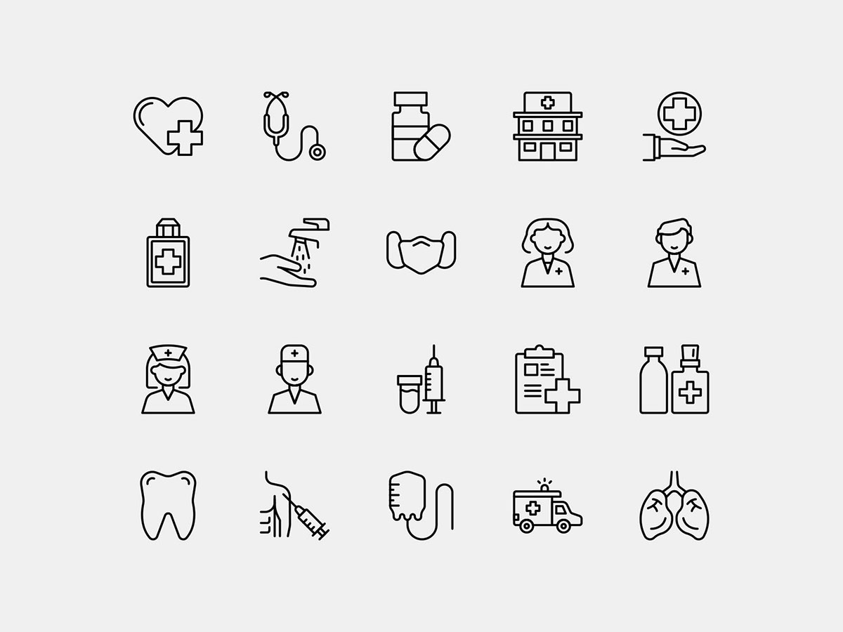 Health Icons Line Vector Pack