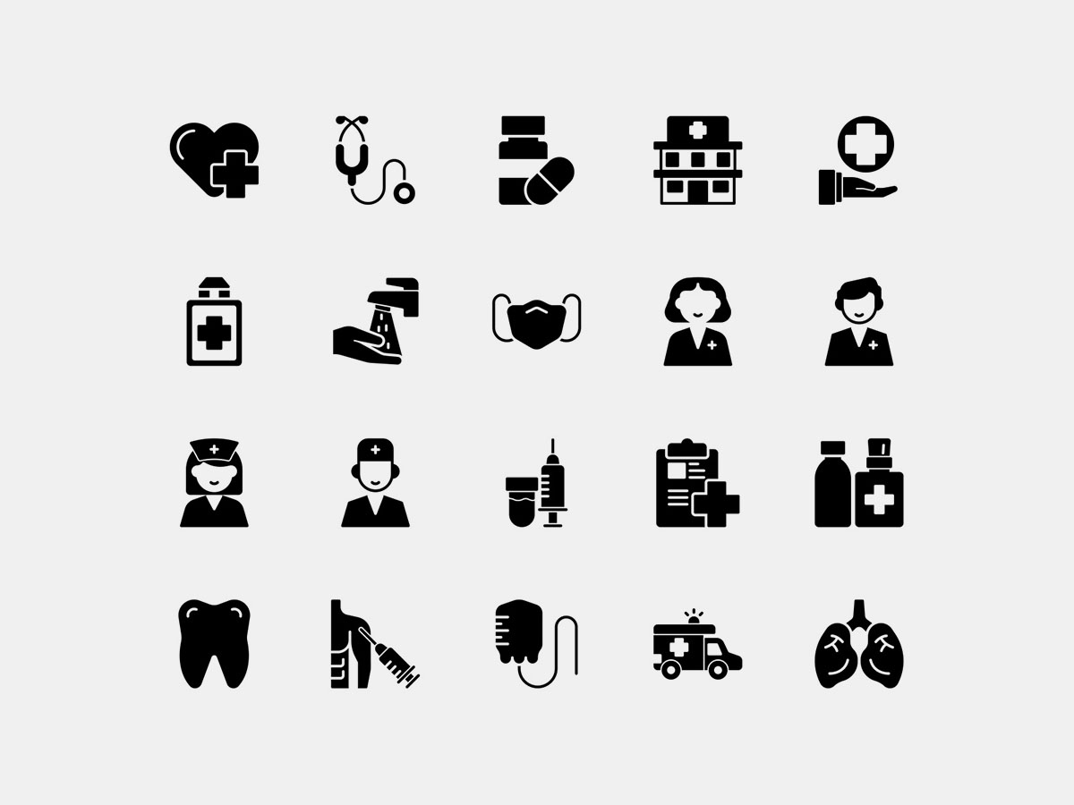 Health Icons Solid Vector Pack