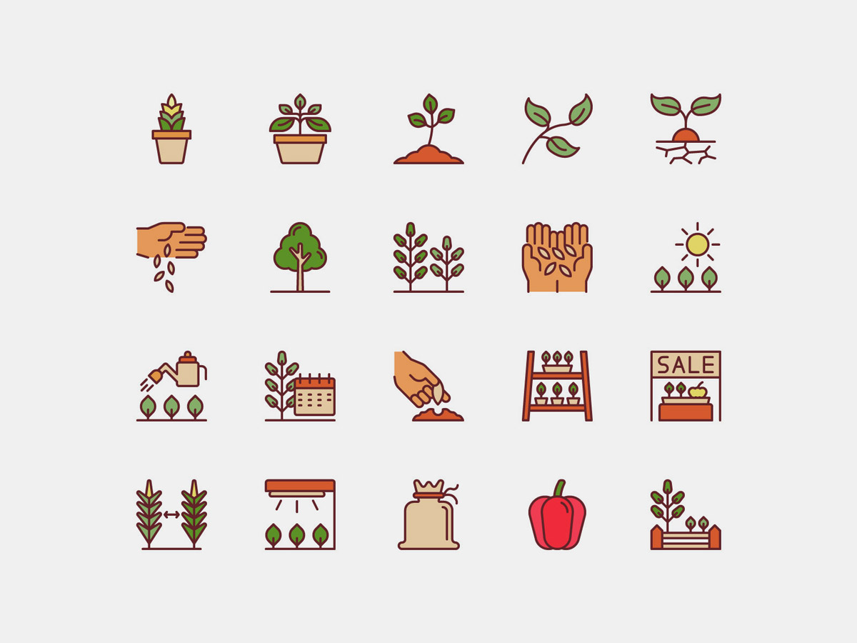 Vector Plant Icons Pack Color