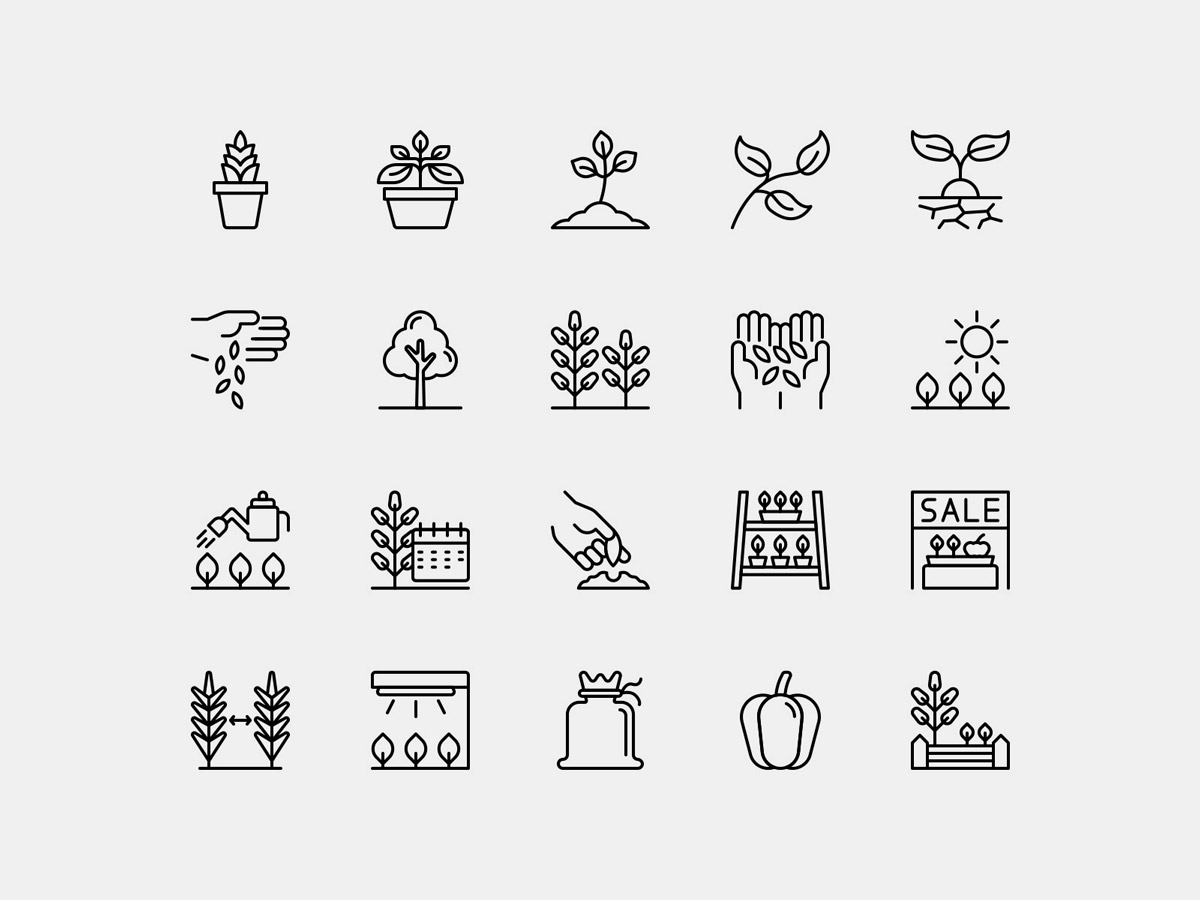 Vector Plant Icons Pack Line