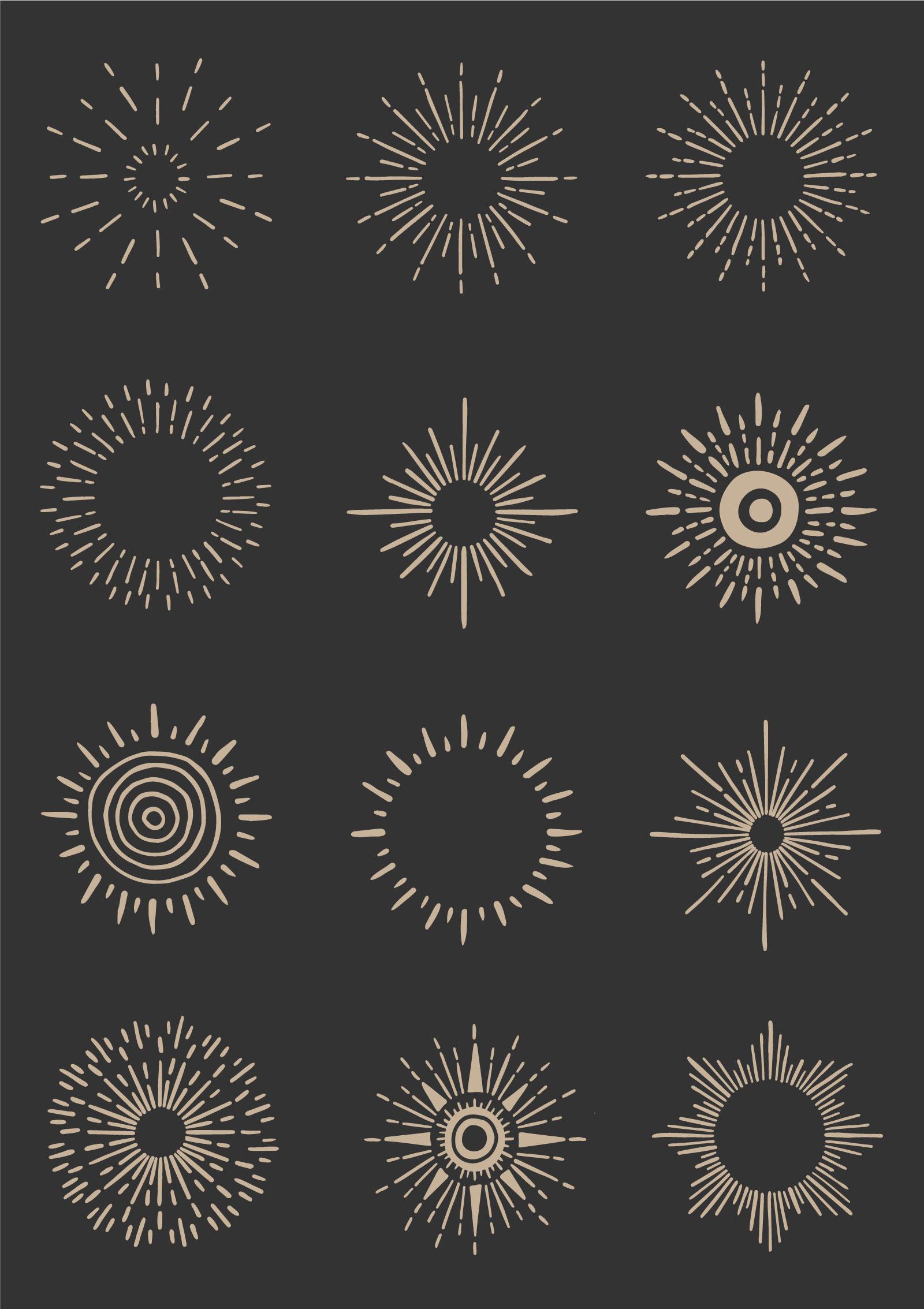 Hand-drawn Vector Sunbursts and Sunrays