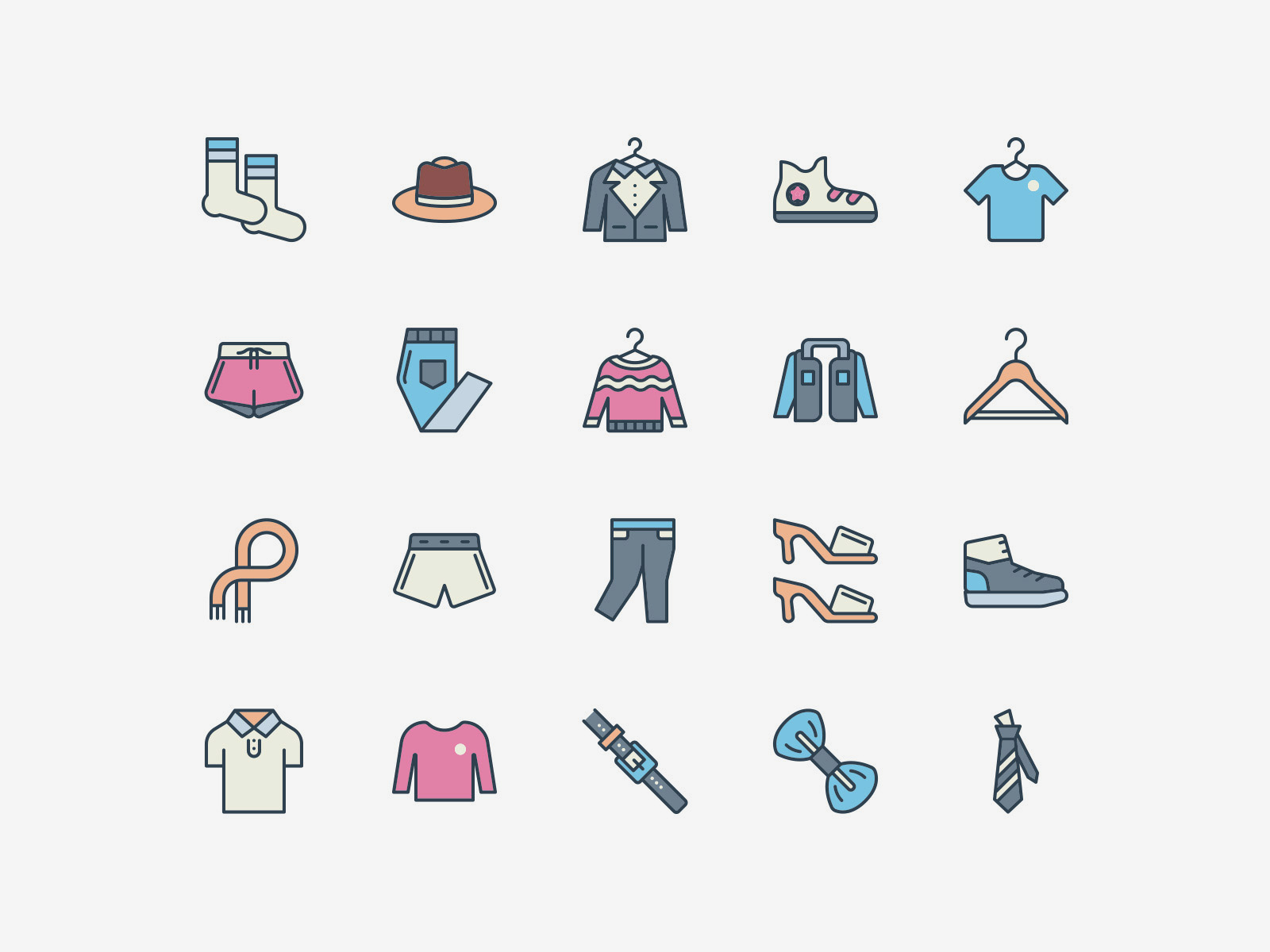 Vector Clothing Icons Color Pack