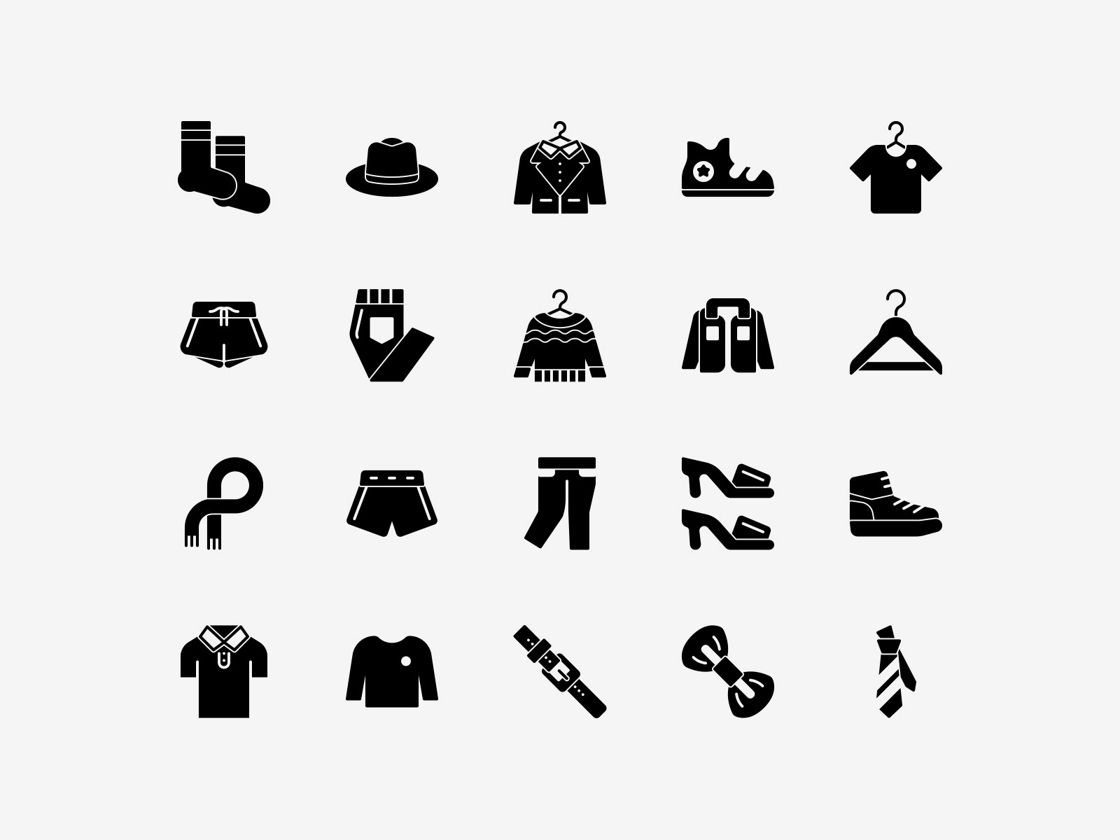 Vector Clothing Icons Solid Pack
