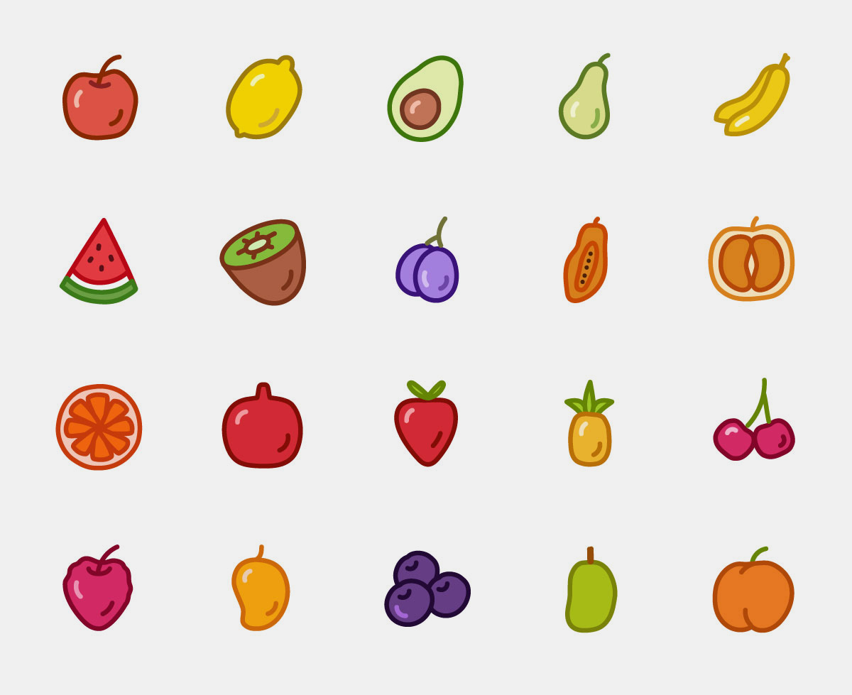 Vector Fruit Icons Color Pack