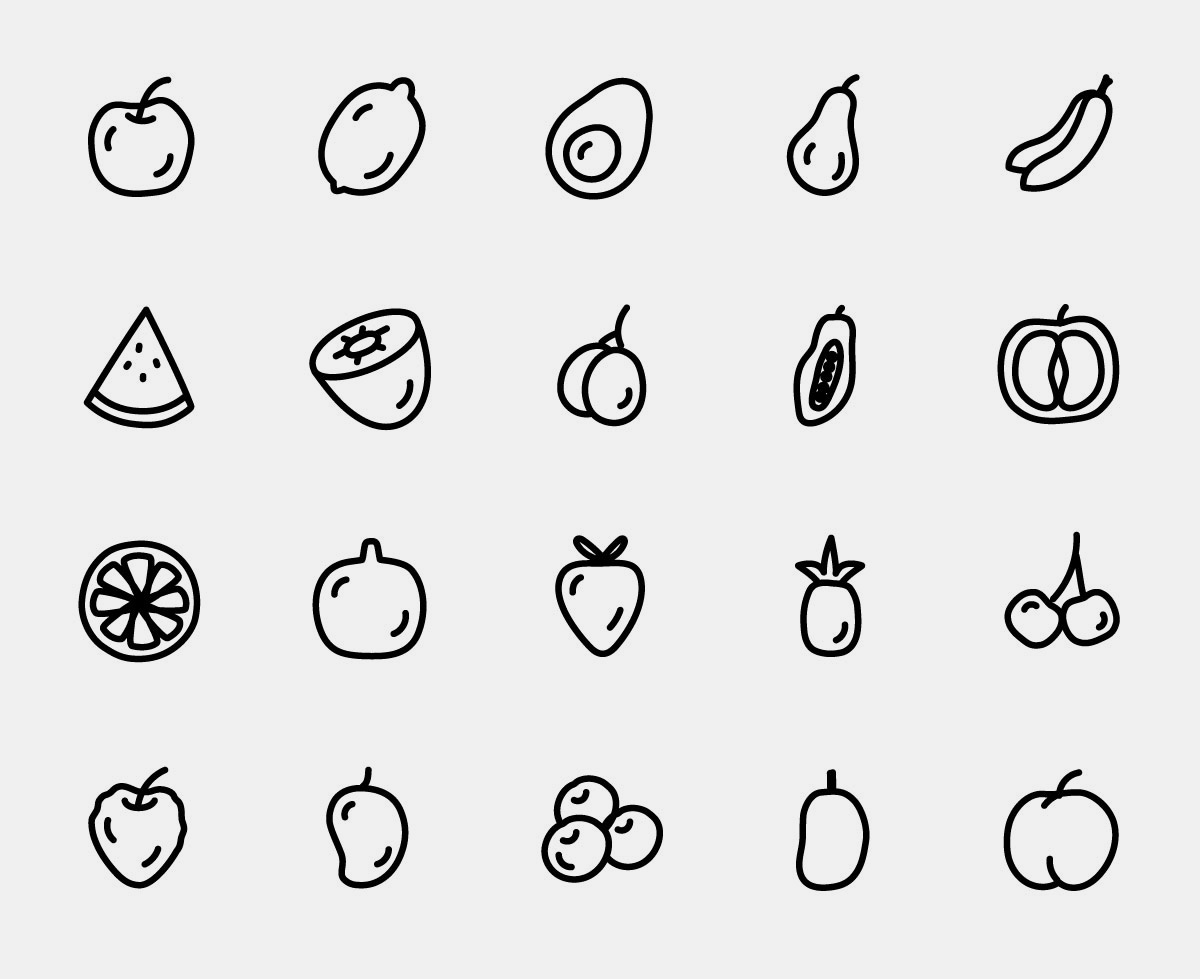 Vector Fruit Line Icons Pack