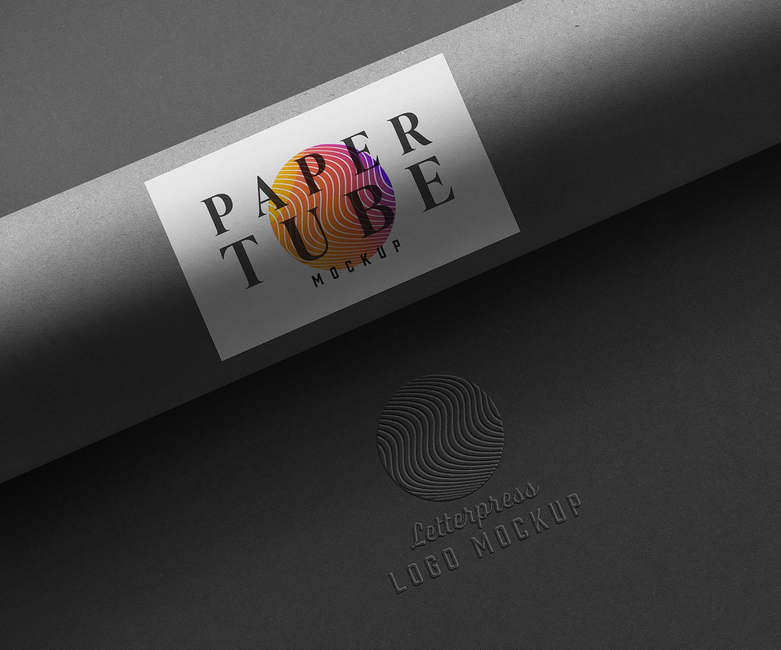 Paper Tube Stationery Logo Mockups Dark Version