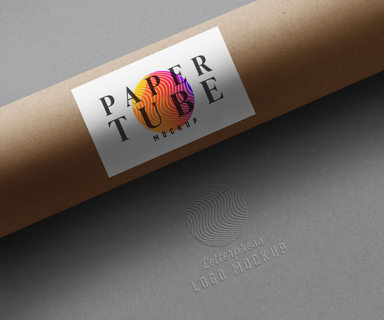 Paper Tube Stationery Logo Mockups