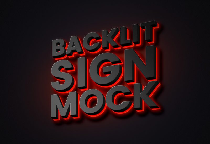 Backlit Sign Mockup PSD