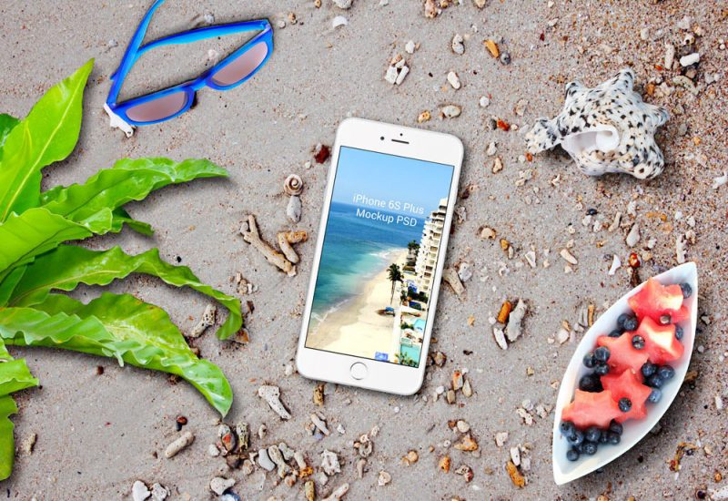 iPhone & iPad on Beach Mockup