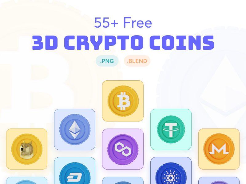 3D Crypto Coins