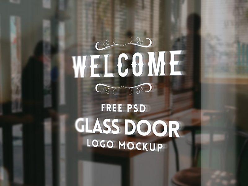 Free Glass Door Logo Mockup
