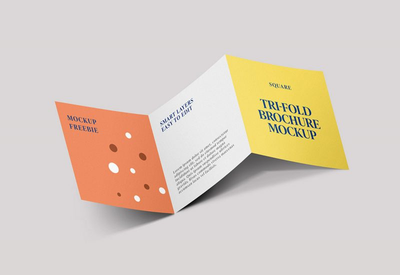 Free Square Trifold Brochure Mockup