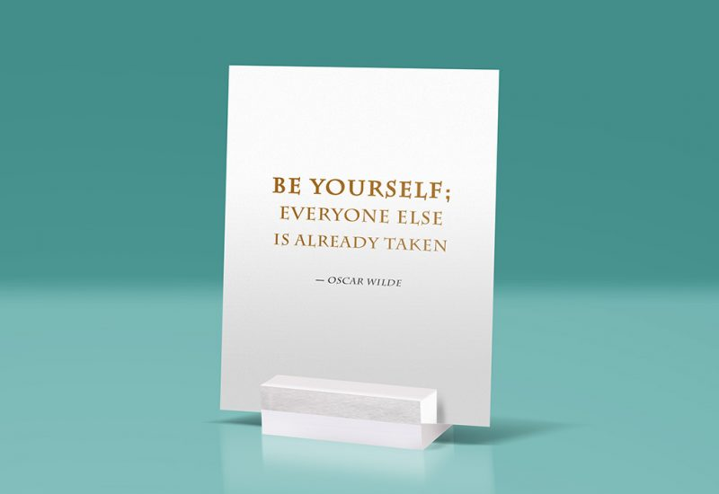 Glass Stand Quote PSD Mockup