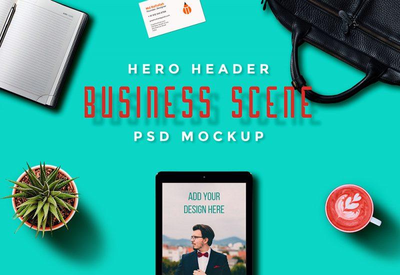 Hero Header Scene Mockup PSD