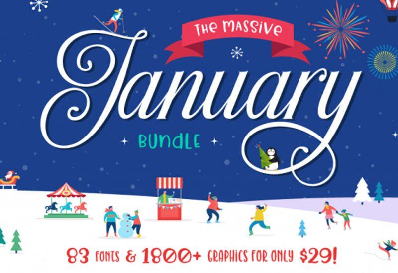 January-Design-Font-Graphics-Bundle