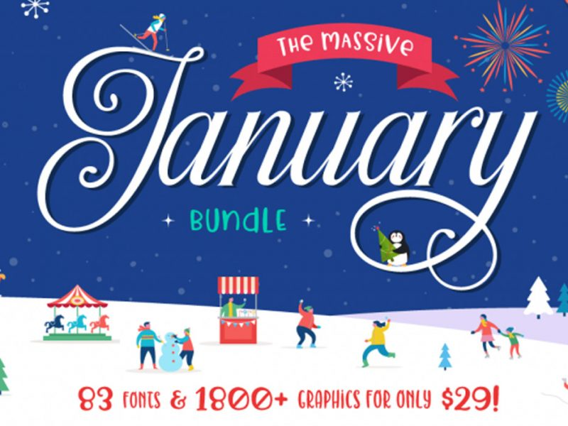 January-Design-Font-Graphics-Bundle