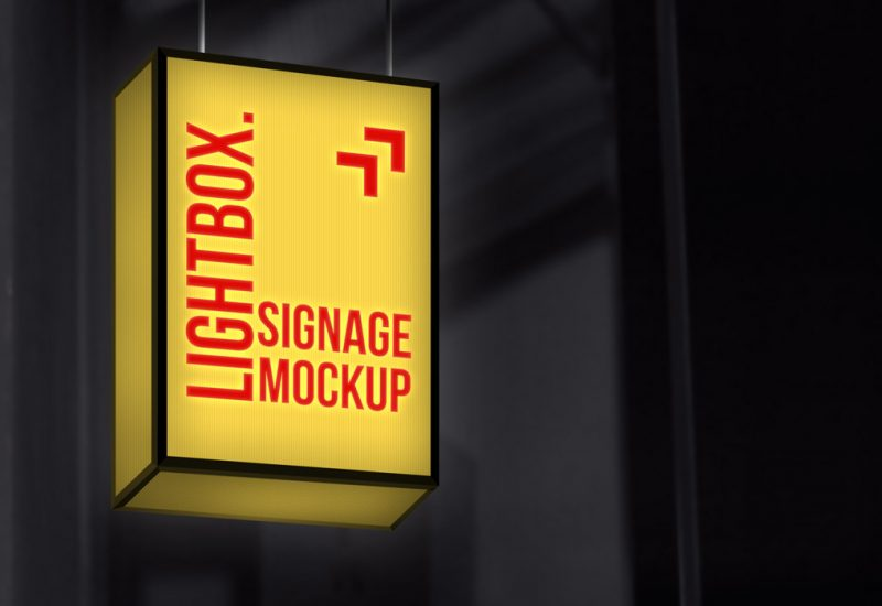 Lightbox Signage Mockup PSD