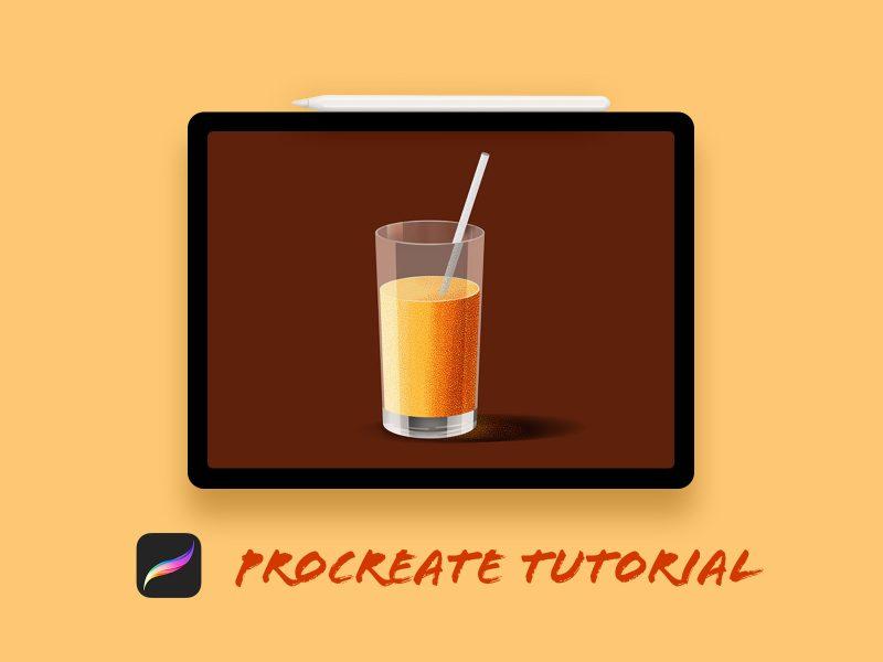 Design Orange Juice Glass in Procreate