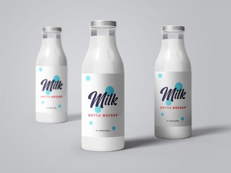 PSD Milk Bottle Mockup Templates