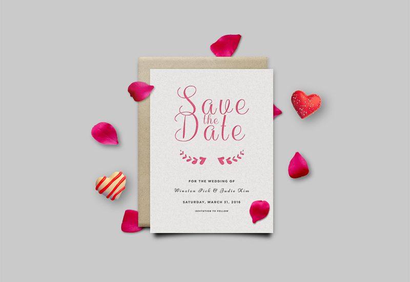 Save The Date Invitation Card PSD
