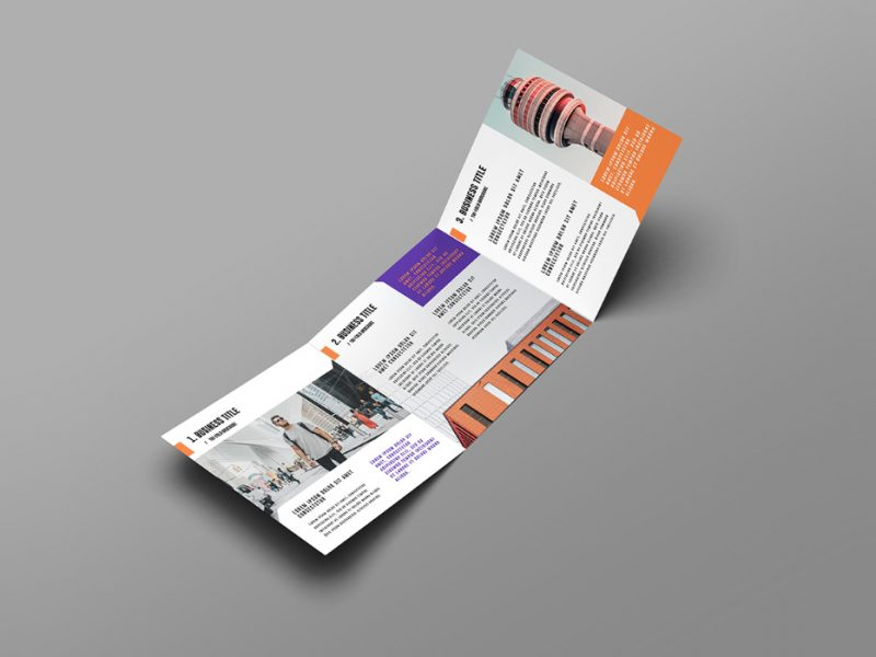 Square Trifold Brochure PSD Mockups